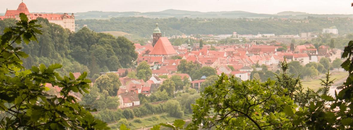 Blick auf die Kirche und das Schloss Sonnenstein